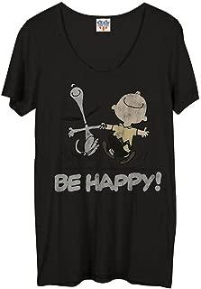 Peanuts Be Happy Juniors Blackwash T-Shirt