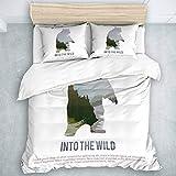 LOSUMIGE Bedding Juego de Funda de Edredón - Supervivencia de Animales Salvajes de Canadá en el Campamento de Caza Salvaje Bear - Microfibra Funda de Nórdico y Fundas de Almohada - (Cama 220 x 240cm)