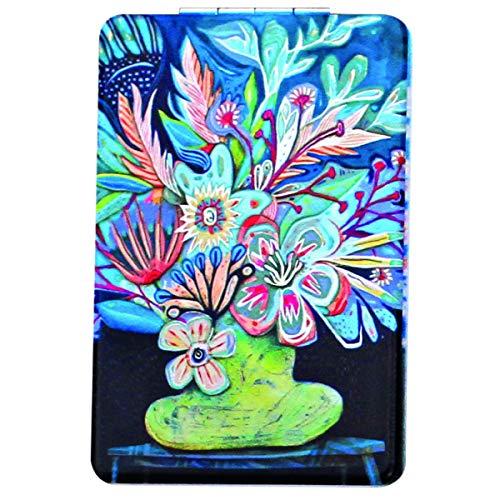 Allen Designs [Q1978] - Miroir de poche 'Allen Designs' bleu multicolore (bouquet de fleurs) - 8.5x5.5 cm