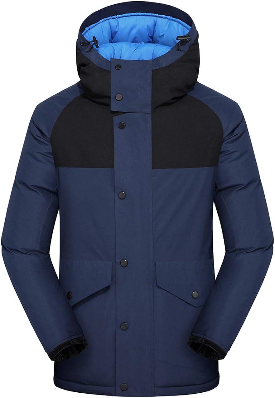 chouyatou Men's Windproof Color Block Hooded Down Alternative Jacket Winter Coat