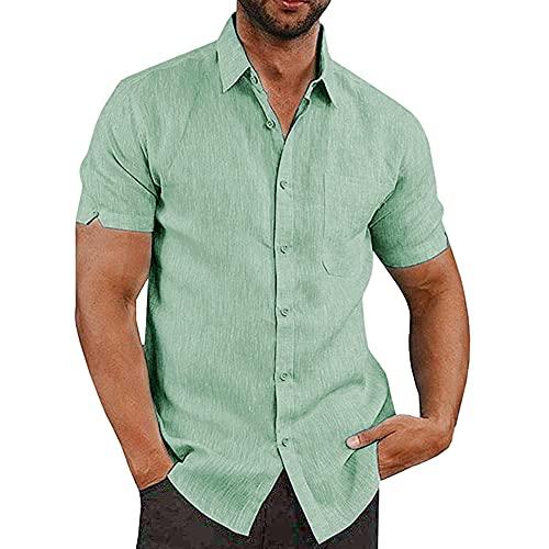 JEKAOYI Button Down Short Sleeve Linen Shirt for Men Button Up Shirt Cotton Lightweight Spread Collar Tops (Green, Large)