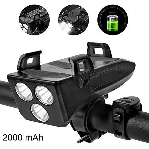 Famyfamy Lampe avant de vélo 4 en 1 multifonction lumières LED Phare Phare Smart Phones Stand Konnes de puissance Banque de puissance Noir, 200605YY03-1#8460, Noir , 2000 mAh