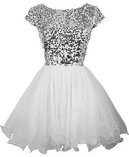 Sarahbridal Juniors Short Homecoming Dresses 2019 Sequin Prom Cocktail Gowns White US12