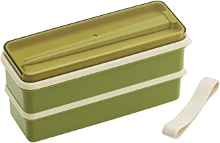 スケーター 弁当箱 2段 シリコン製内蓋付 630ml スリム ランチボックス レトロフレンチ グリーン 日本製 SSLW6