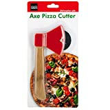 bulk buys Kitchen Essentials Axe Pizza Cutter, 8.25', Brown/Red/Silver