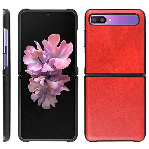 HualuBro Handyhülle für Samsung Galaxy Z Flip Hülle, Retro PU Leder Ultra Slim Stoßfest Schutzhülle Lederhülle Back Bumper Hülle Cover für Samsung Galaxy Z Flip Tasche (Rot)
