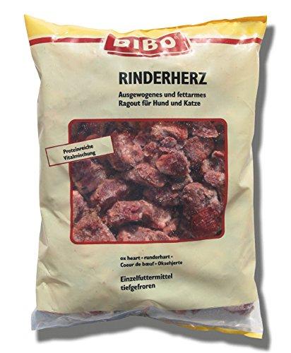 DIBO Rinderherz, 12 x 500g-Beutel, Tiefkühlfutter, gesunde, natürliche Ernährung für Hunde und Katzen, Barf Fleisch