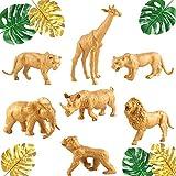 13 PCS JeVenis Gold Safari Animal Birthday Centerpiece Jungle Animals Cake Decoration Jungle Party Safari Centerpiece Safari Baby Shower Decoration Jungle Baby Shower Decoration