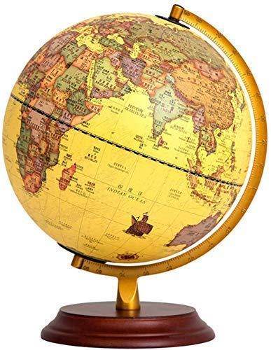 THj Illuminated Vintage Globes, 10 Inch Geographic World Globes Retro Decorative Desktop Globe Rotating Earth Globe Ornaments with Wooden Base Globes