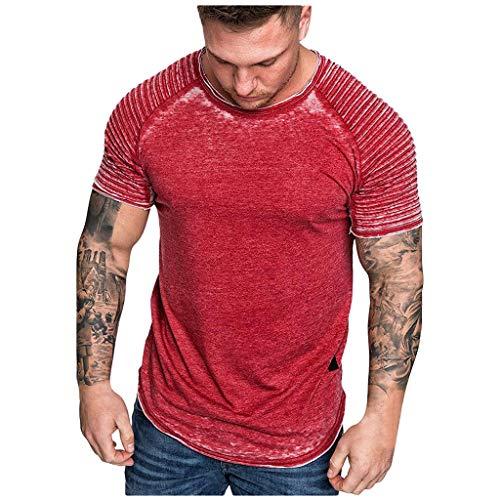BOLANQ Männer Tops, Fashion Herren Sommer Falten Slim Fit Raglan Kurzarm Muster Top Bluse(XX-Large,Rot)