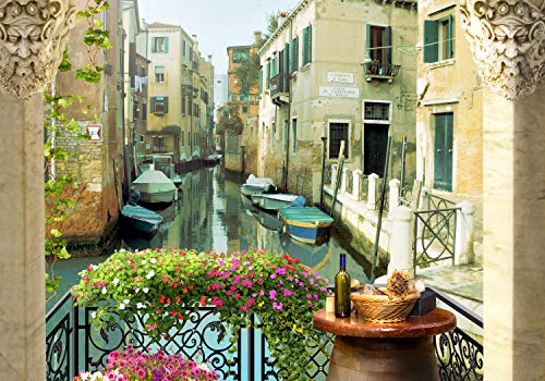 wandmotiv24 Fototapete Balkon Kanal Venedig Gondeln XS 150 x 105cm - 3 Teile Fototapeten, Wandbild, Motivtapeten, Vlies-Tapeten Venezia, Italien, Aussicht M1096