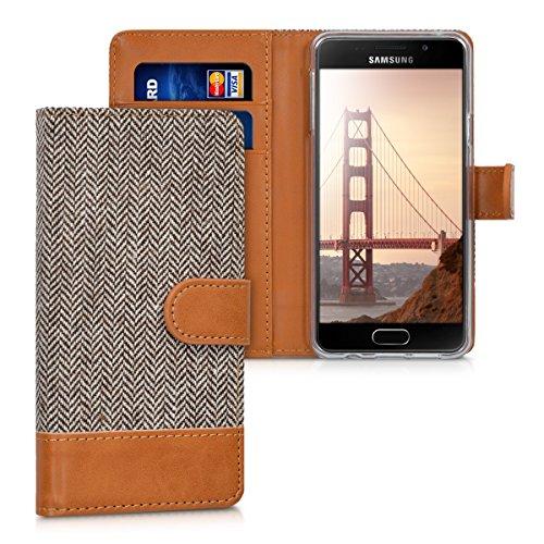 kwmobile Wallet Case kompatibel mit Samsung Galaxy A3 (2016) - Hülle mit Ständer - Handyhülle Kartenfächer Dunkelgrau Braun