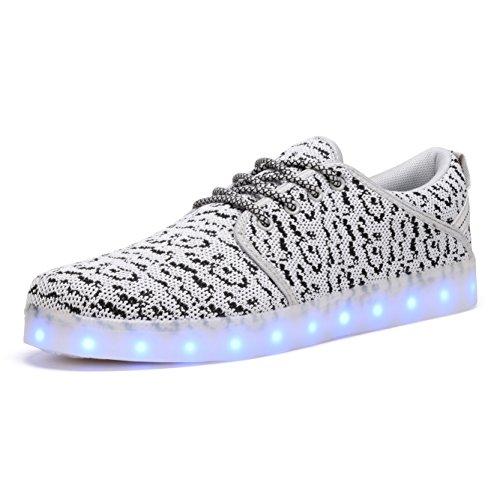 COODO Damen Herren USB Aufladen Licht Luminous 7 Farben LED Leuchtend Turnschuhe Sneaker Paare Schuhe CD2011 Grau 39 EU