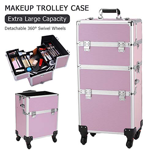 3 in 1 Aluminum Rolling Cosmetic Trolley Removable Wheels $100.00 (80% OFF)