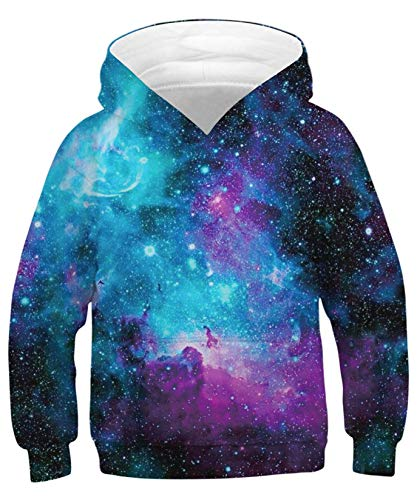 ALISISTER Jungen Mädchen Galaxy Hoodie Sweatshirt Kinder Lustig Gedruckt Kapuzenpullover Langarm Sweatshirt Tops M