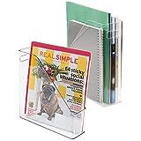 mDesign Set de archivador de plástico – 2 unidades – El perfecto organizador de papeles para periódicos, revistas, papeles y demás – Revistero de plástico