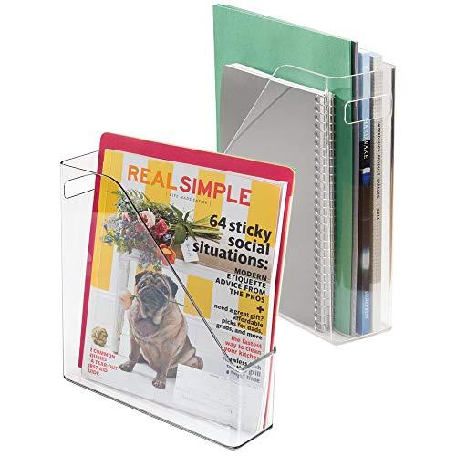 mDesign 2er-Set Archiv-Stehsammler transparent - Zeitschriftensammler aus Kunststoff - Schreibtisch-Organizer für Zeitschriften, Magazine, Notizen & Co. - hochwertig & praktisch