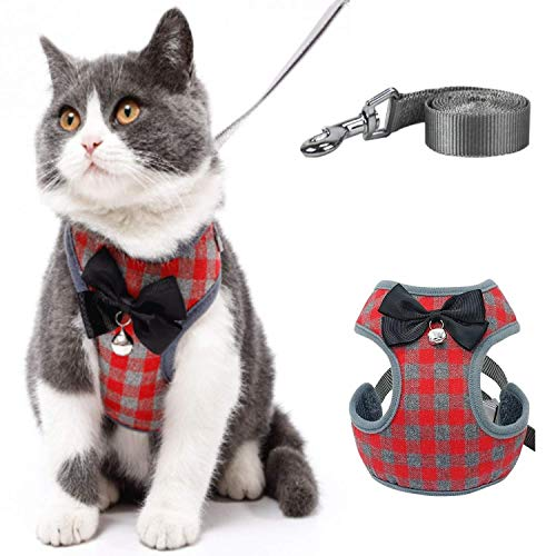 Aqiku Pet Harness and Leash Set for Walking Small Cat and Dog Harness, Escape Proof Soft Vest Harnesses with Bell Bow, Easy Control Breathable Pet Safety Jacket & 1 Metal Leash Ring