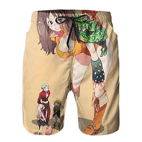 Inaayayi Se-Ven-DEA-Dly-Si-Ns - Pantalones cortos de playa para hombre, pantalones cortos clásicos de baño de secado rápido, con múltiples bolsillos y forro de malla
