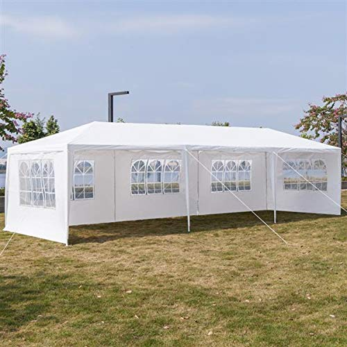 CAIDE-STORE 10'x30' Portable Waterproof Outdoor Gazebo Canopy Wedding Party Tent, White Pavilion Camping Shelter Patio Event Gazebo Beach Tent with Removable Sidewalls (Five Sides)