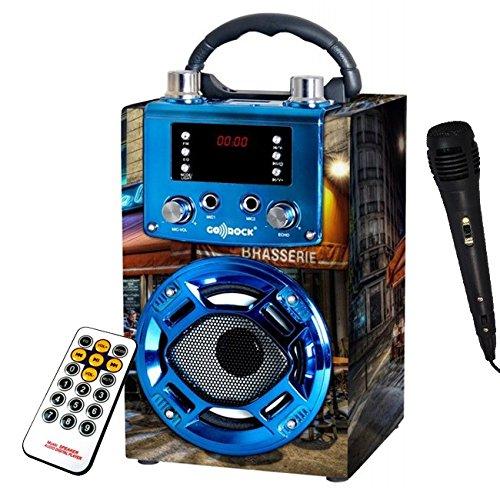 Mini Altavoz Paris portatil Karaoke. Altavoces con Radio FM microfono USB MP3. Altavoz con Bluetooth conexión al móvil. Batería de Litio Recargable. Incluye Mando a Distancia y micrófono.