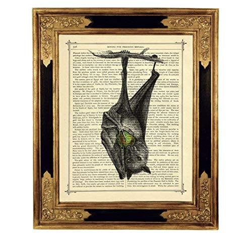 Fledermaus Kunstdruck auf viktorianischer Buchseite Geschenk Halloween Gothic Steampunk Vampir ungerahmt