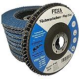 10 dischi lamellari Premium - 125 mm Ø INOX blu con grana 40/60/80 - Set di smerigliatrici angolari con mola Fexa - per metallo e acciaio inossidabile