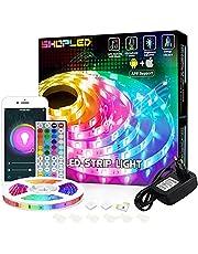 LED Strip Kompatibel med Alexa/Google Home, SHOPLED 5M Smart WiFi LED Lights Styrs av APP och fjärrkontroll, Musiksynkronisering, RGB 5050 Färgbyte Strip Lights för Sovrums kök TV Fest Dekoration