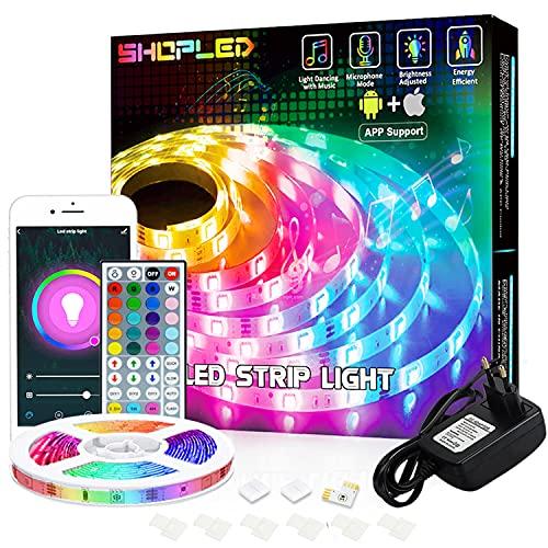 Striscia LED Compatibile con Alexa/Google Home, SHOPLED 5M Smart WiFi LED Striscia controllata App e Telecomando, Sincronizza con Musica, RGB 5050 Nastri Led per Casa soggiorno Festival Decorazione