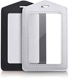 2 Pcs Vertical Genuine Leather ID Badge Holder Waterproof Clear Card Holder for School ID Office ID, Black and Silver Gra...