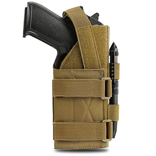 Pvnoocy Molle Pistol Holster for 9mm 1911 Glock Universal Adjustable Gun Holster with Lights for Right Handed Shooters G17 18 19 26 34, Ruger LCP, Beretta