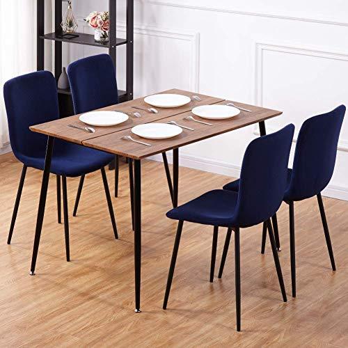 GOLDFAN Esstisch mit 4 Stühlen Rechteckiger Esstisch Retro Design Küchentisch und Stoff Stuhl mit Metallbeine für Wohnzimmer Esszimmer Wohnzimmer Büro, Blau