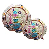 """Handicraft Bazarr 18"""" Set 2 White Patchwork Cushion Cover Vintage Cotton Pillow Throw Traditional Ethnic Pillow Covers Embroidered Sari Patchwork Meditation Khambadiya Cushion Cover Home Decor"""