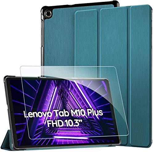 EasyAcc Funda Carcasa para Lenovo Tab M10 FHD Plus (2nd Gen) 10.3+ Protector Pantalla, Smart Cover Case con Soporte Función para Lenovo Tab M10 FHD Plus,Azul eléctrico