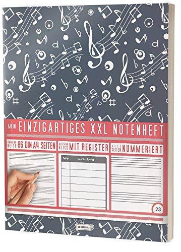 """Mein Notenheft / 86 Seiten, 44 Blätter, 12 Systeme / Mit Register und Seitenzahlen / PR301 """"Music Pattern"""" / DIN A4 Soft Cover"""