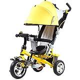 Bicicleta de bebé Triciclo de niños carretilla / Cochecito de bebé / Triciclo de bicicleta de bebé, 1 - coche de bebé de 6 años ( Color : Amarillo )