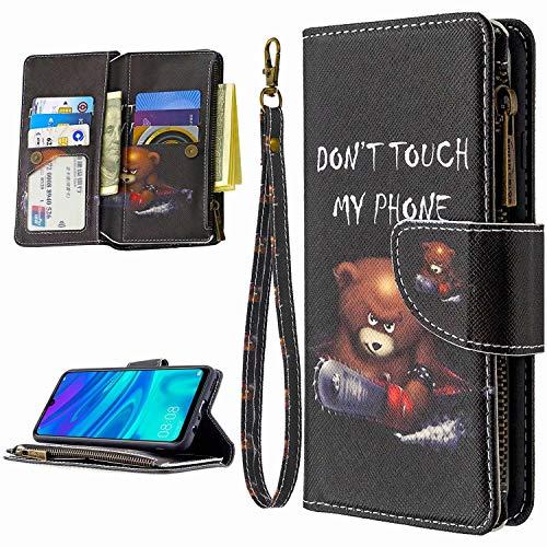 Miagon 9 Kartensteckplätzen Lederhülle für iPhone XS Max,Bunt Reißverschluss Flip Hülle Wallet Case Handyhülle PU Leder Tasche Schutzhülle,Kettensäge Bär