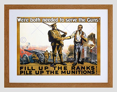 WAR ENLIST RECRUITMENT SOLDIER GUN UK BRITAIN WW1 GREAT FRAMED PRINT B12X1869