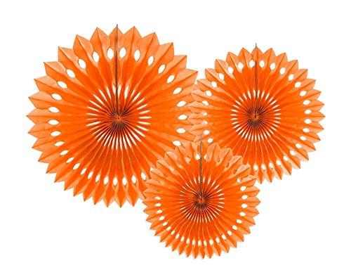 3 abanicos colgantes de papel de seda de color naranja