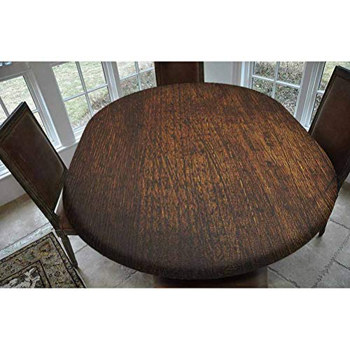 SoSung Wooden Decor Polyester Fitted Tablecloth,Old Vintage Antique Timber Oak Background Rustic Floor Artisan Photo Print Oblong Elastic Edge Fitted Table Cover,Fits Oval Tables 68x48 Chestnut Brown