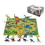 Spielen Sie Dinosaurier-Spielzeug-Set, Packung Mit 24 Dinosaurierfiguren Und Eine Dschungel-Bodenmatte Weihnachtsgeschenke Für Kinder Kleinkind Jungen Und Mädchen, 3-jährige + -