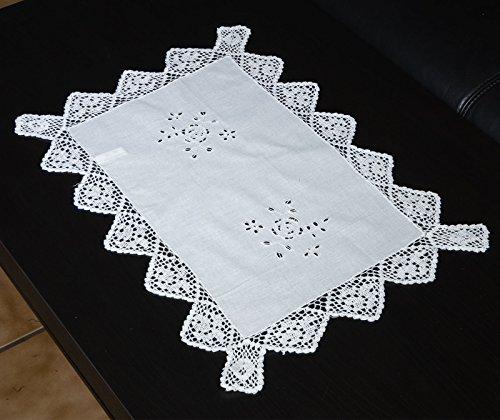Parsberg Tischdecken mit Spitze im Landhausstil, 100% Baumwolle, Verschiedene Größen wählbar (ca. 34x50 cm)