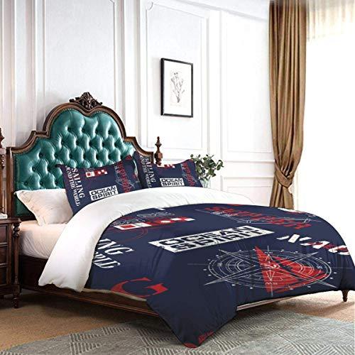 HARXISE Bettbezug Set Nautischer Stil Marine Segelelemente Luxus Dekorative Wohnheim Hotel 3-teiliges Bettwäscheset mit