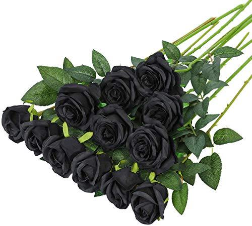 Hawesome 12pcs künstliche Rosen Seidenrosen Kunstblumen 6 Blüten & 6 Knospen Blumenstrauß Dekoration Hochzeit Wohnzimmer Party Blumenarrangement Cafe dekorative Blumen rot weiß rosa violett (schwarz)