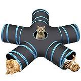 Cozy Vibe Katzenspielzeug Katzentunnel, Katze Spielzeug Hundenspielzeug Spieltunnel 5-Wege Pet Play Tunnel Tube für Katze, Welpe, Kitty, Kätzchen, Kaninchen(5-Wege, Blau)