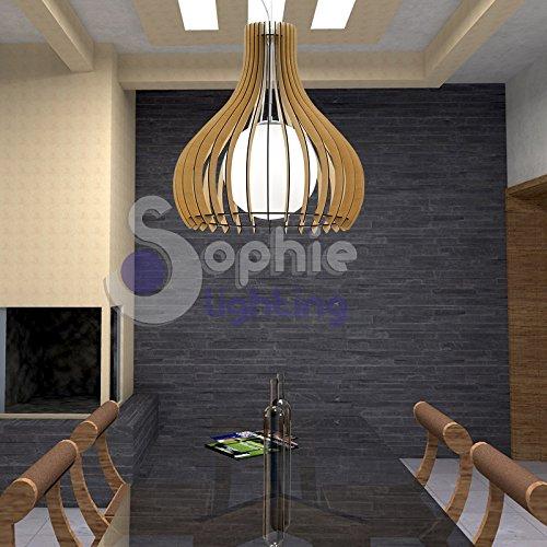 Lustre lampe suspension réglable Grand Diamètre 80 cm hauteur 3 mètres Design moderne Bois érable acier chromé satiné salle à manger cuisine salon magasin Showroom EG 61269 Sophie Lighting