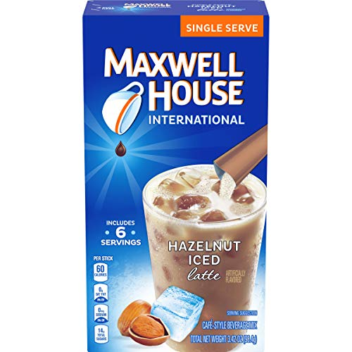 Maxwell House International Cafe Hazelnut Instant Iced Latte Single Serve (3.42 oz Boxes, Pack of 8)