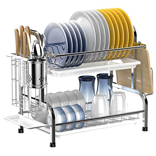 Ace Teah Dish Drying Rack, 2 Tier Dish Rack with Utensil Holder, Strainless Steel Dish Drainer,Silver