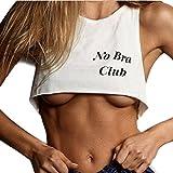 haoricu Women Tank Tops, 2018 Clearance!Womens No Bra Club Letter Print Sexy Vest Short T Shirt Bra Blouse (M, White)