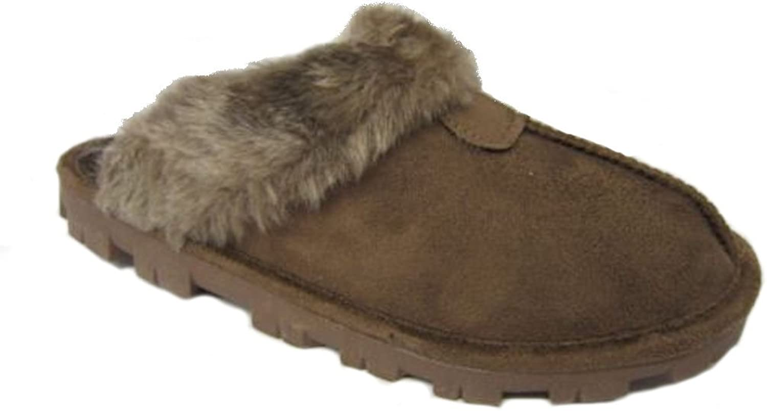 Slippers Womens Faux Suede Furry Mules Ladies Mule Size UK 3 4 5 6 7 8